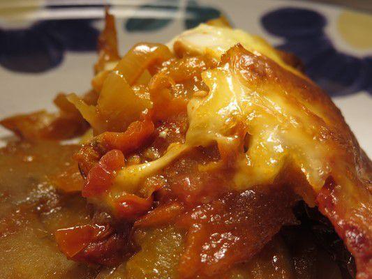 Gratin aubergines-tomates-oignons-mozzarella