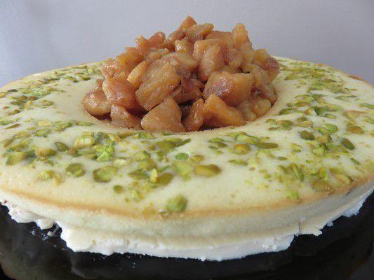 Blanc manger à la vanille cannelle, pommes caramélisées et croustillant pistcahe