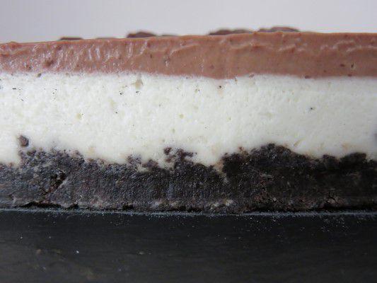 entremet vanille et ganache chocolat sur lit oreos