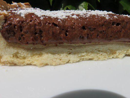 Tarte crème vanille et moelleux crousti chocolat