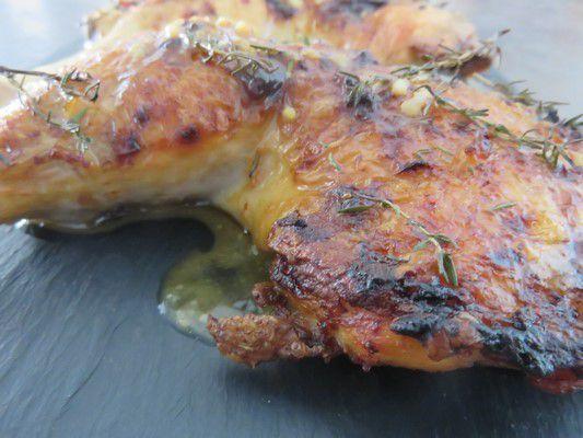 Poulet rôti moutarde miel et thym