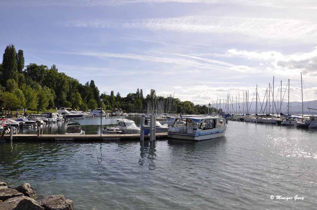 En face, le port de plaisance sur des eaux argentées.