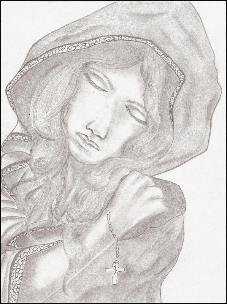 Brave homme en prière  -  Jeune fille priant  -  Jeune femme dans la méditation  -