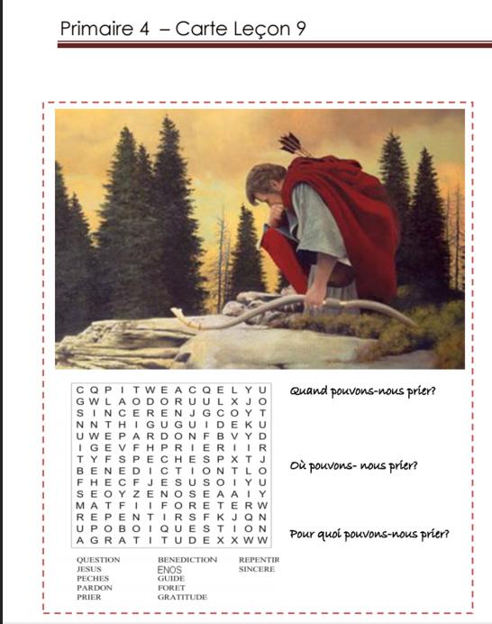 Primaire 4 - Leçon 9 - La prière d'Enos.