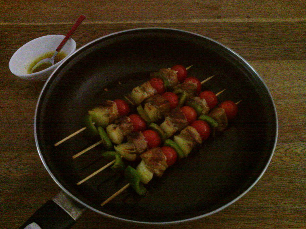 Brochettes de veau aux légumes à la plancha