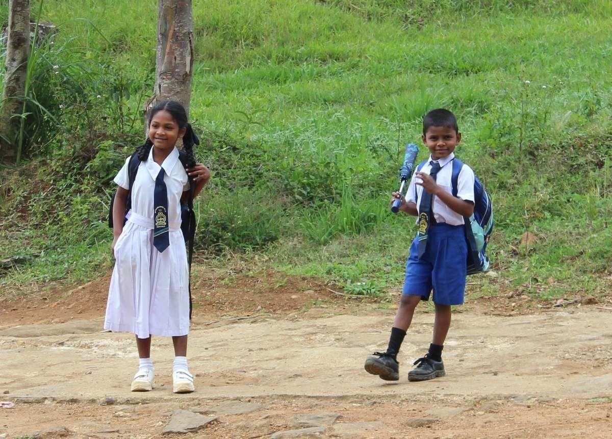 Les enfants rentrent de l'école