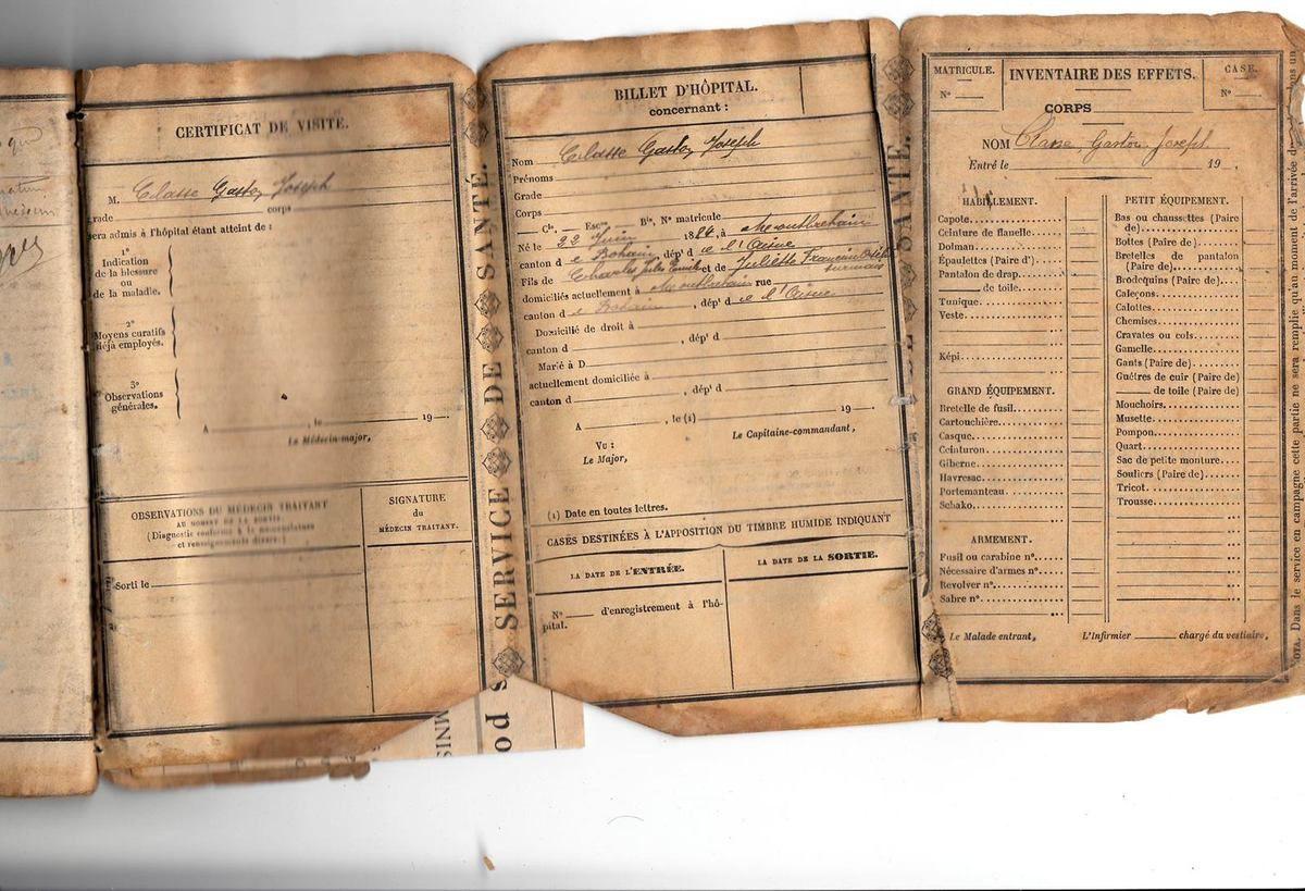 CLASSE Gaston Joseph : Livret Militaire (1904) à Saint Quentin (02)