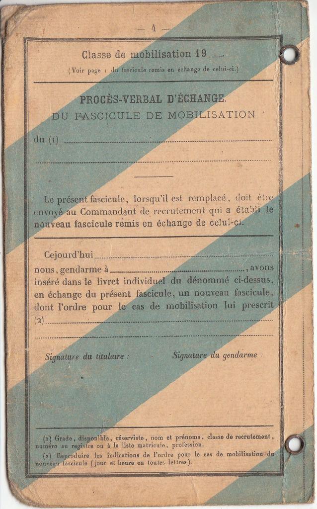 CARE Léon : Livret Militaire (1920) à Saint-Quentin (02)