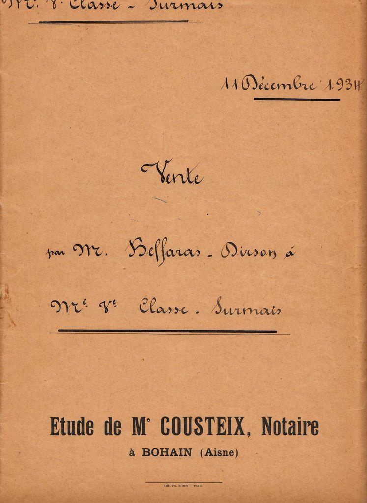 CLASSE - SURMAIS : Acte de Vente (11/12/1934) à Montbrehain (02)