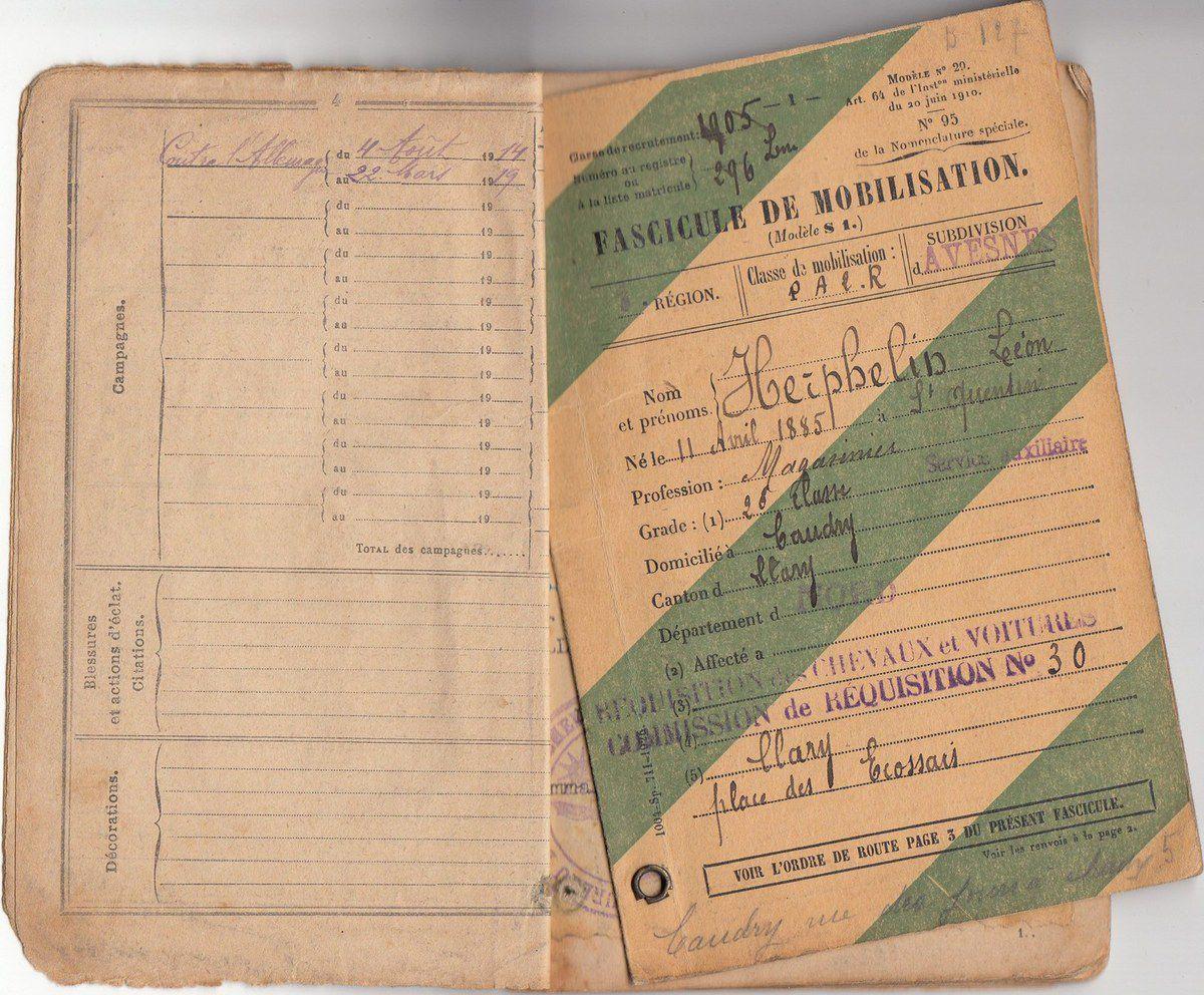 HERPELIN Léon : Livret Militaire (1905) à Saint Quentin (02)
