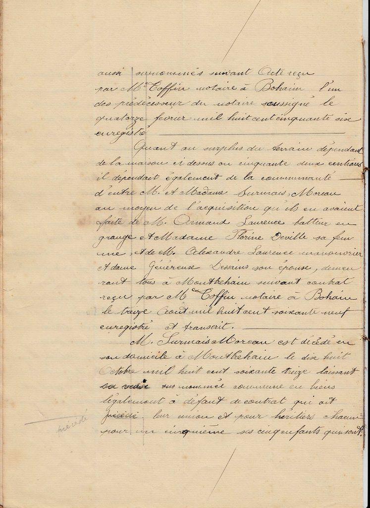 CLASSE - SURMAIS : Echange de propriété (23/06/1922) à Montbrehain (02)