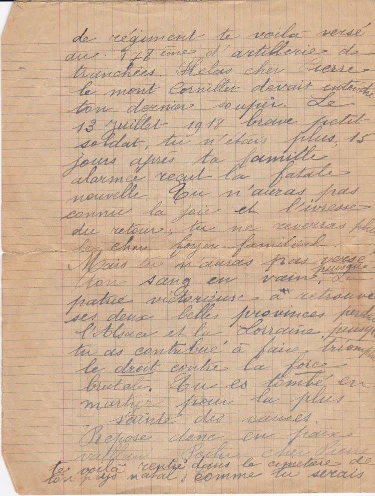 PECOURT Pierre : Lettre-Hommage (1918)