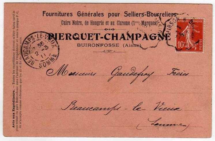 GAUDEFROY : Bon de commande (01/03/1911) à Beaucamps-le-Vieux (80)