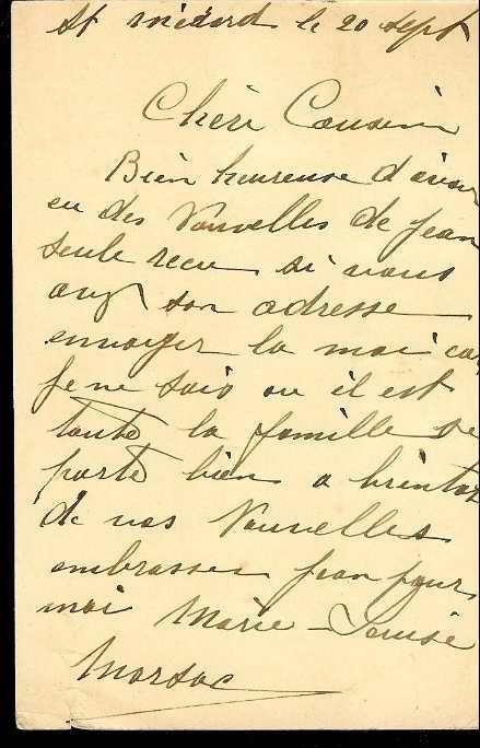 MARSAC Marie Louise : Carte Postale (20/09/1939) à Saint Médart (Belgique)