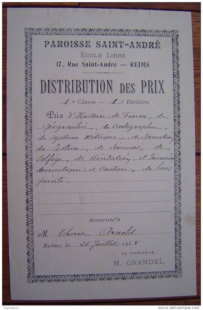 ARNOLD Therese : Prix (26/07/1925) à Reims (51)