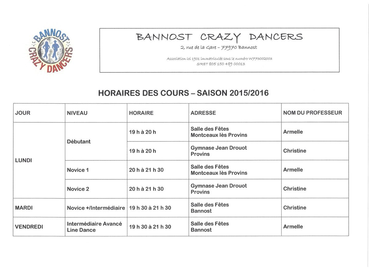 HORAIRES 2015/2016