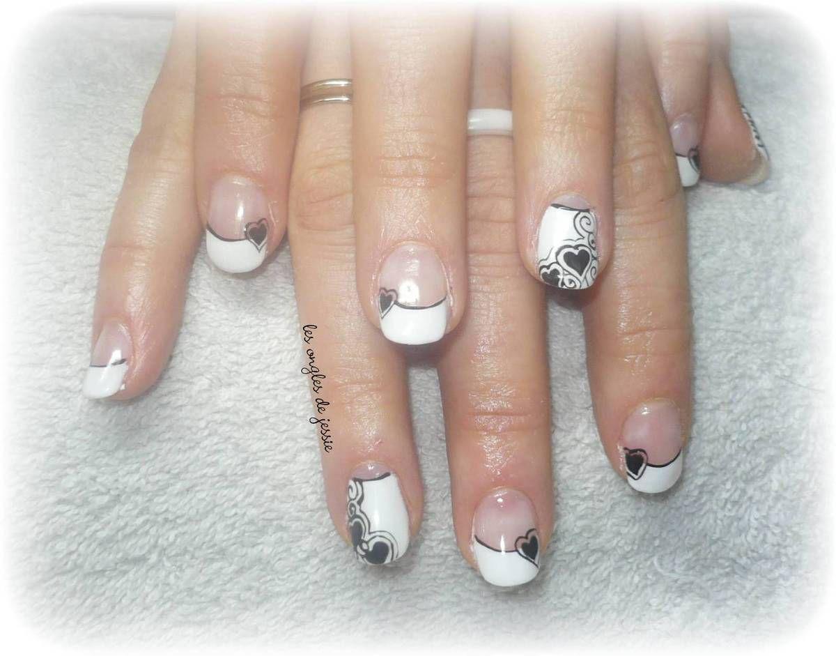 manucure st valentin french blanche et c urs noirs les ongles de jessie. Black Bedroom Furniture Sets. Home Design Ideas