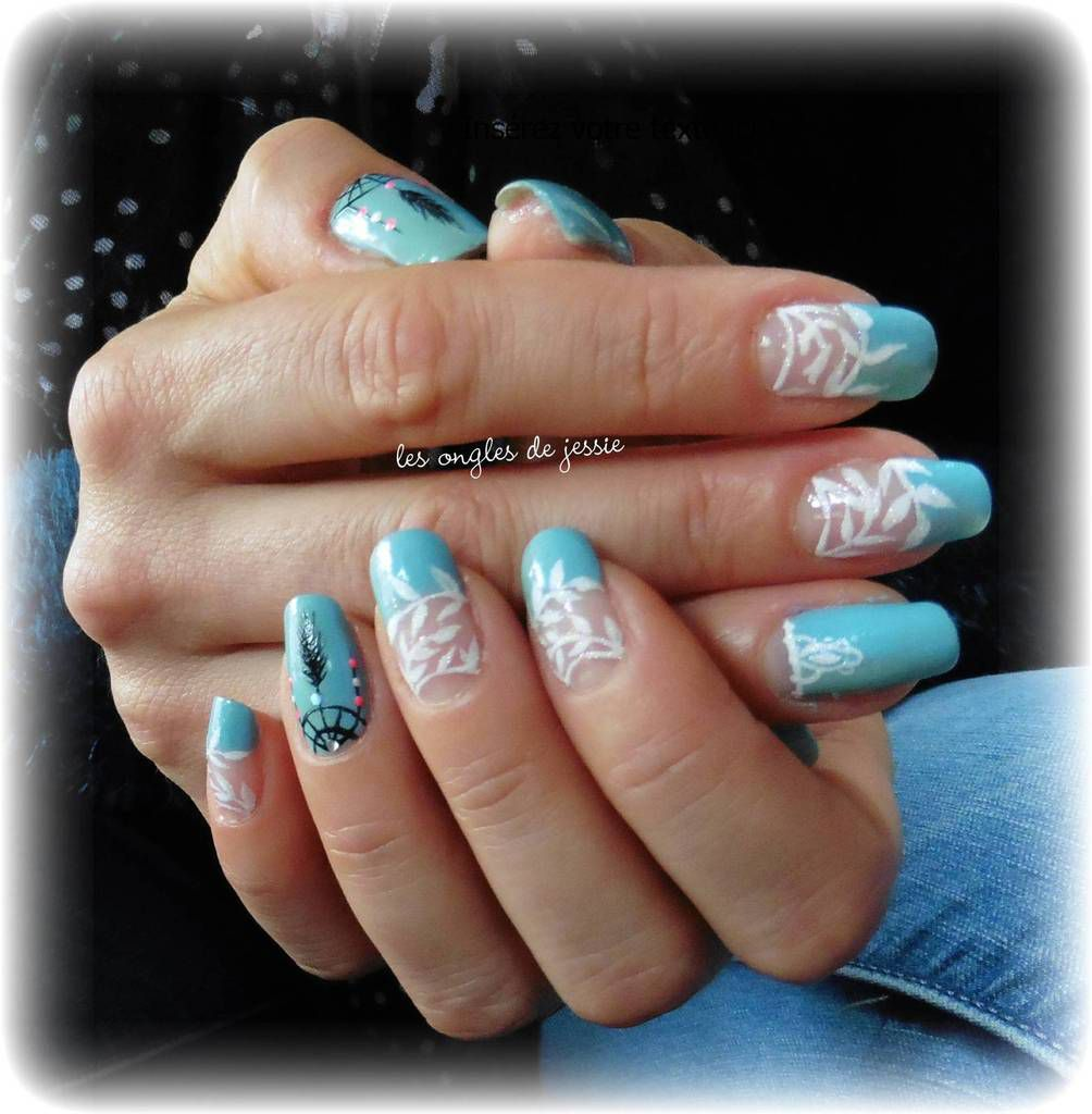 french vert d'eau turquoise nailart attrape-rêves