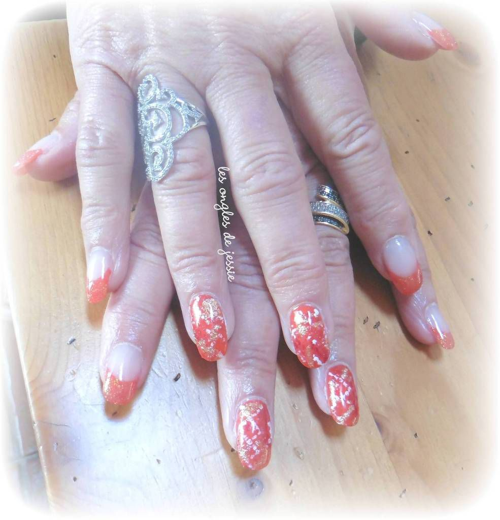 french corail et nailart serpent