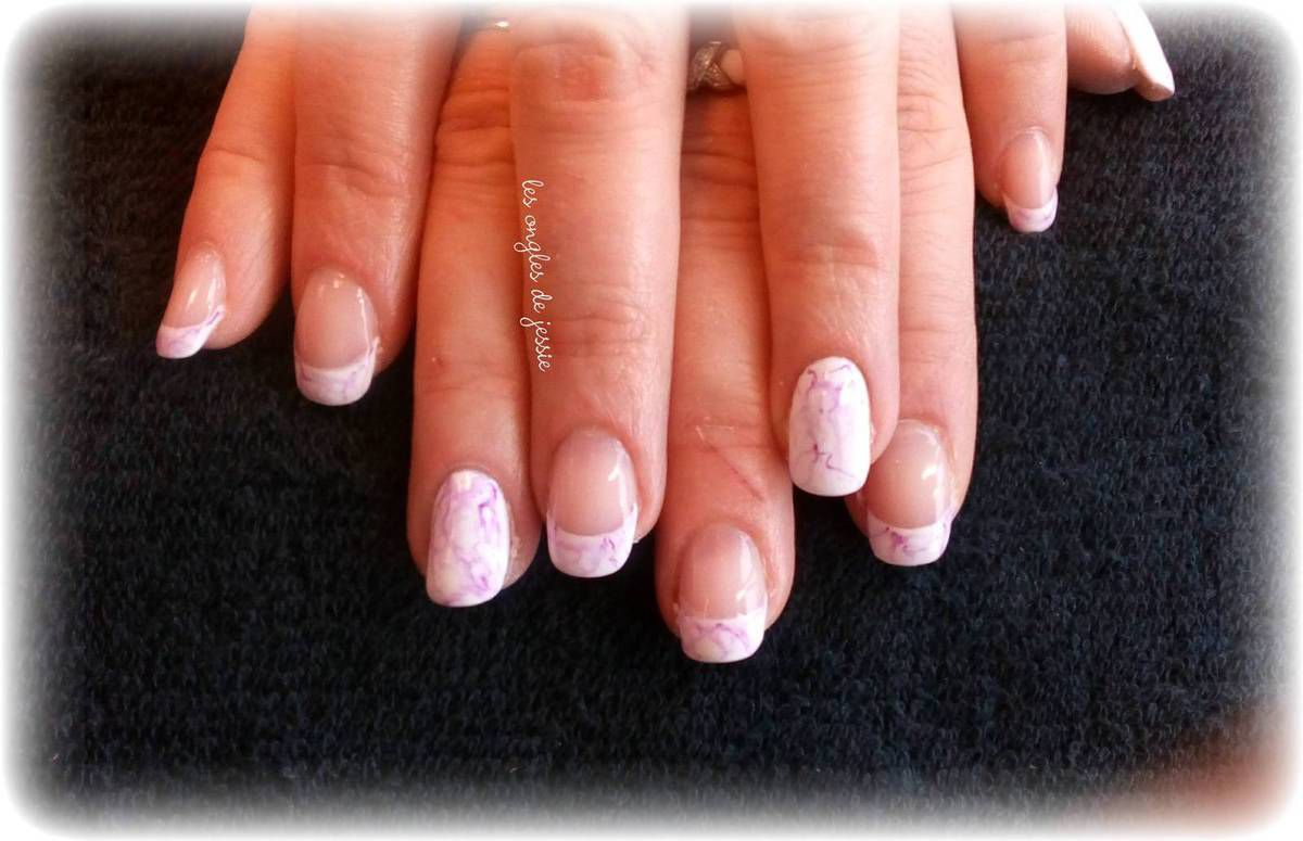 french blanche effet marbre prune