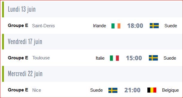 Calendrier des matchs de la Suède pour les qualifications