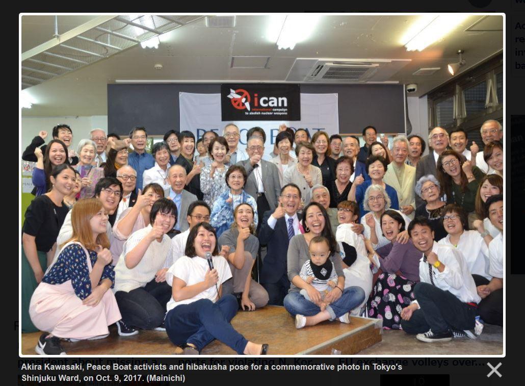 ICAN member celebrates with hibakusha