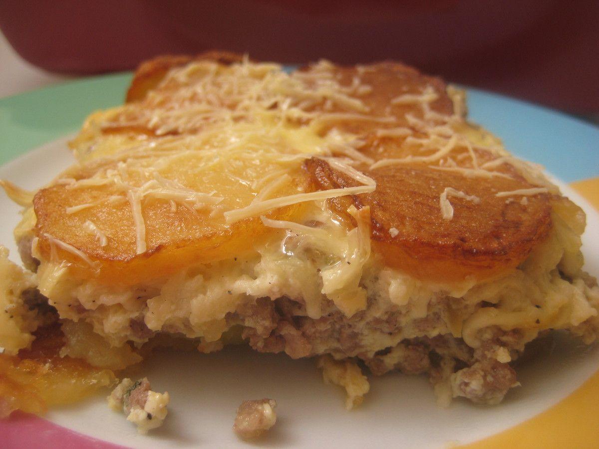 Tajine pommes-de-terre, viande hachée au four