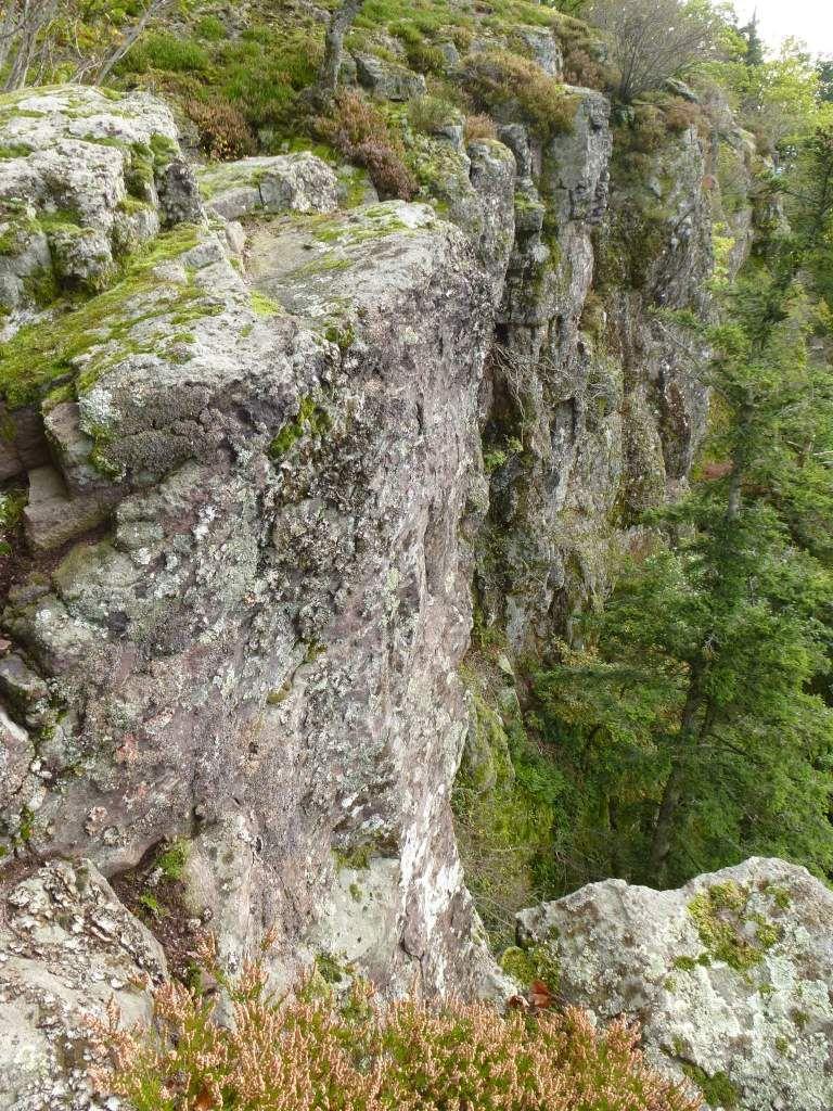 Vue d'ensemble de la falaise porphyrique du Schieferberg, haute de près de 35 mètres.