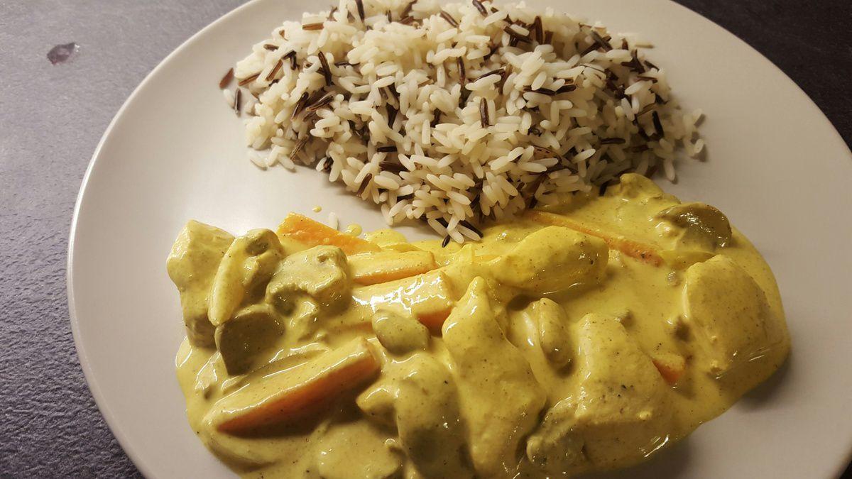 de poulet au curry et ses petits légumes - dans la cuisine de nathalie