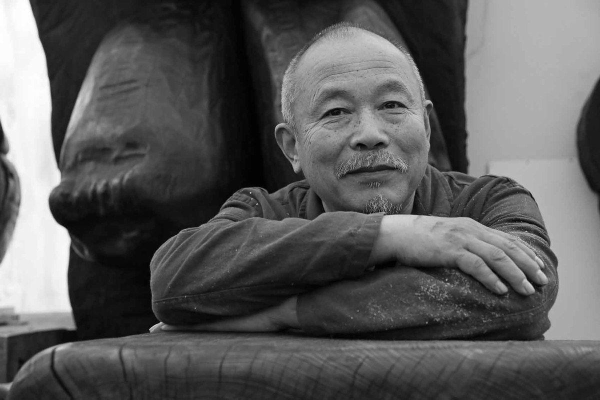 Visite de l'atelier de Wang Keping, à Vitry le 30 avril 2014