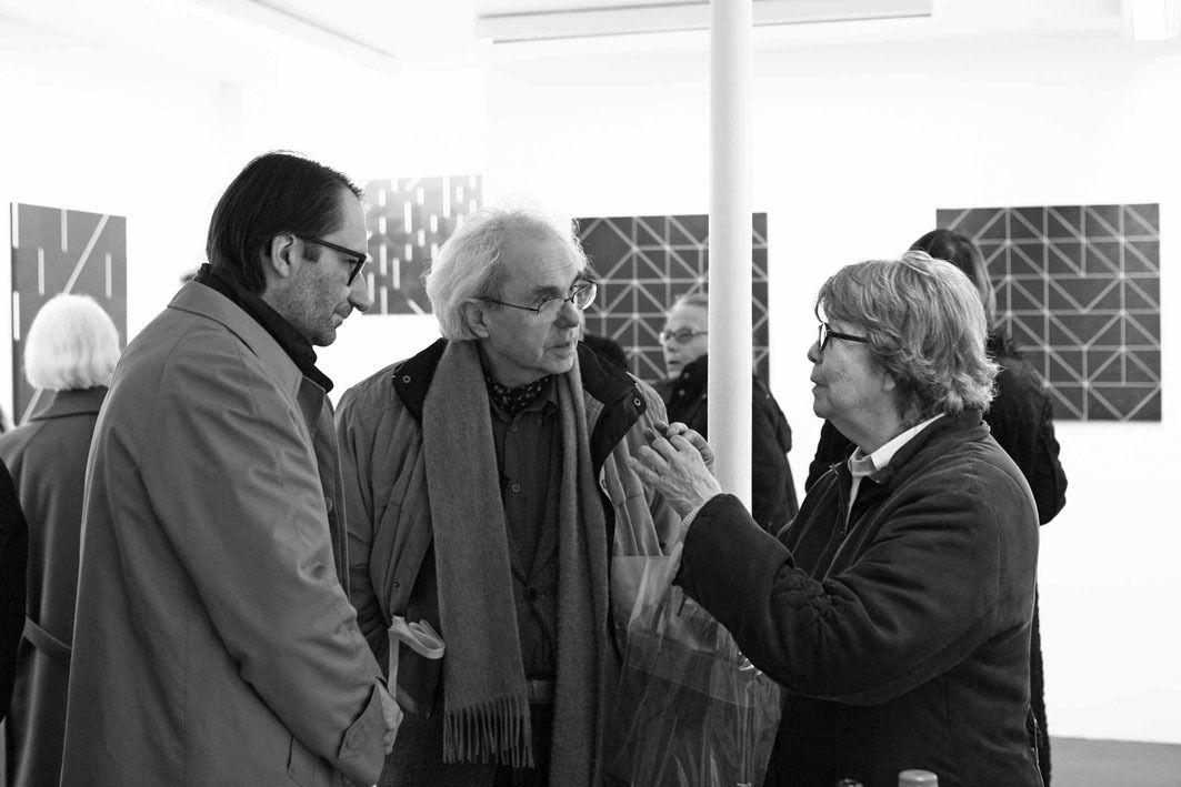 Jean Brault, Daniel Pandini, Vera Molnar, Rosita Dewez-Sancho. Vernissage de l'exposition Ode Bertrand. Galerie Cour Carrée, Paris le 6 février 2008