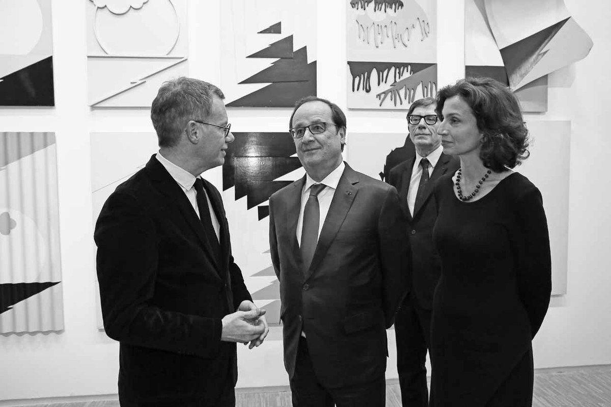 Michel Gauthier, François Hollande, Serge Lasvignes, Audrey Azoulay