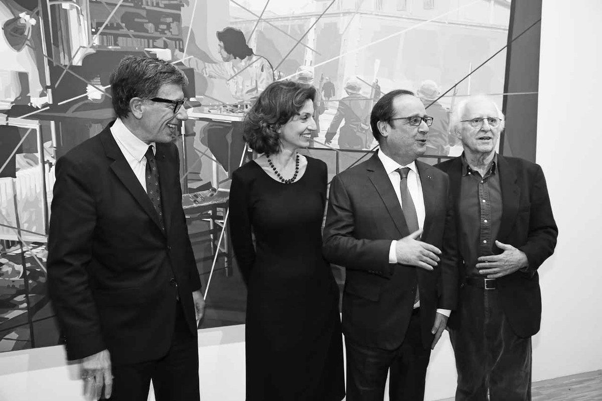 Serge Lasvignes, Audrey Azoulay, François Hollande, Gérard Fromanger