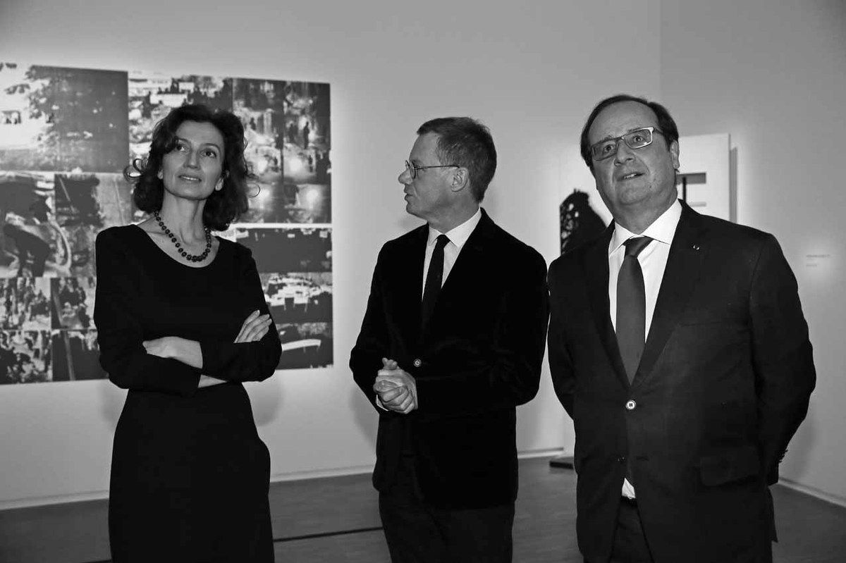 Audrey Azoulay, Michel Gauthier, François Hollande