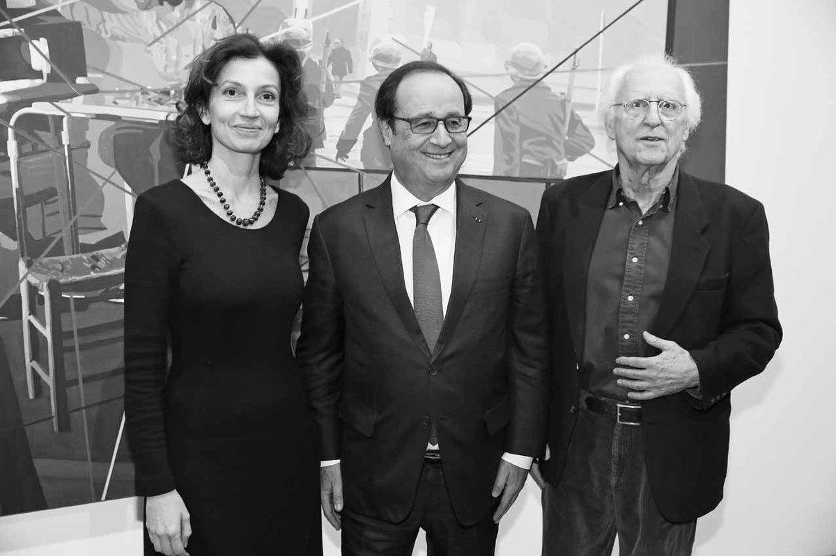 Audrey Azoulay, François Hollande, Gérard Fromanger