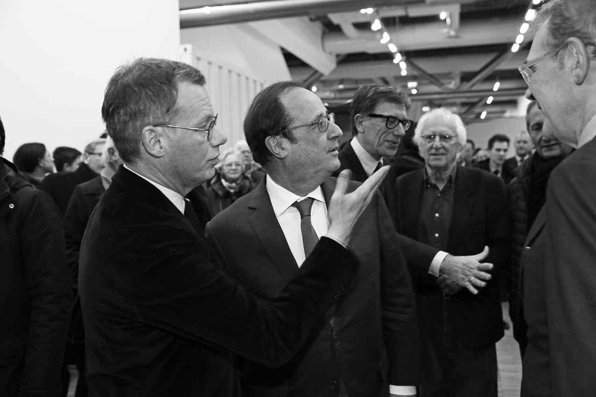 Michel Gauthier, François Hollande, Serge Lasvignes, Gérard Fromanger, Bernard Blistène, Jean-Jacques Aillagon