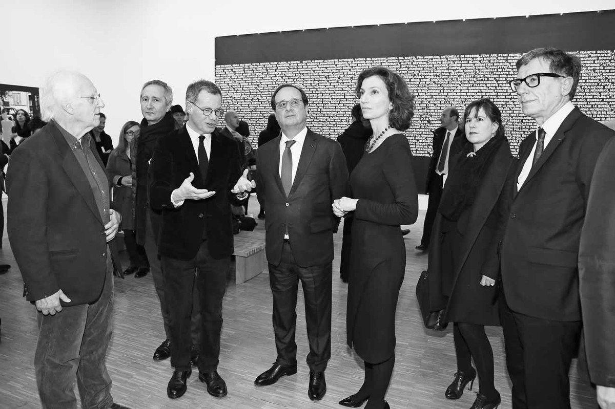 Gérard Fromanger, Bernard Blistène, Michel Gauthier, François Hollande, Audrey Azoulay, Serge Lasvignes