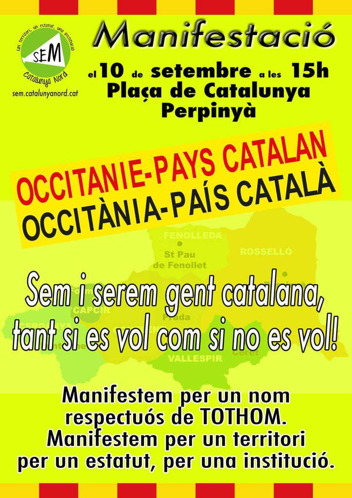 """Al meu pais - 10 septembre 2016, à 15 h, place de Catalogne, pour """"Occitanie/Pays catalan"""""""