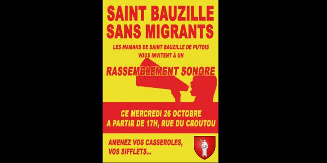Affiche contre les migrants dans le village cévenol