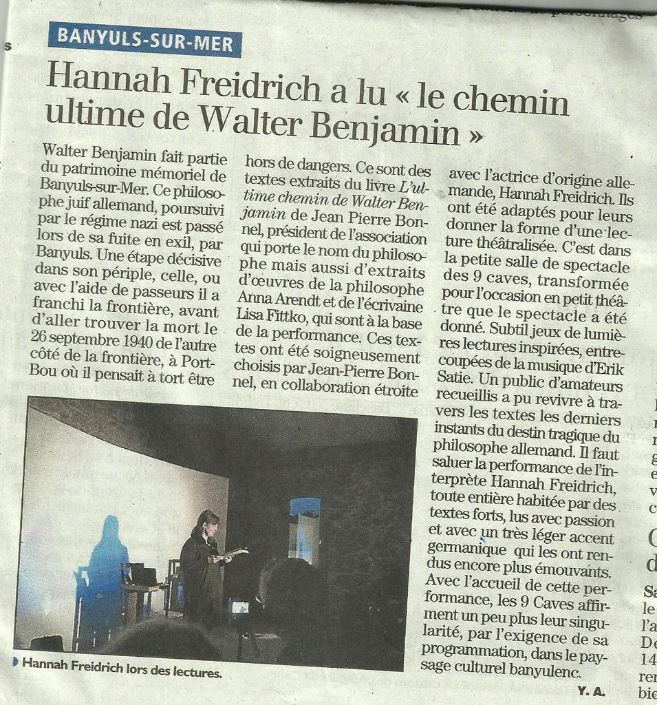 Jordi Barre - Hanna Fiedrich et W.Benjamin - Débat sur les Communautés à Thuir -