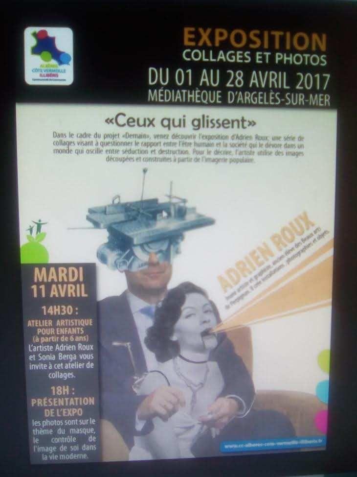 Oeuvres sur la Sanch - Teresa Rebull - Expo et atelier (collages) à la médiathèque d'Argelès (village. 66)
