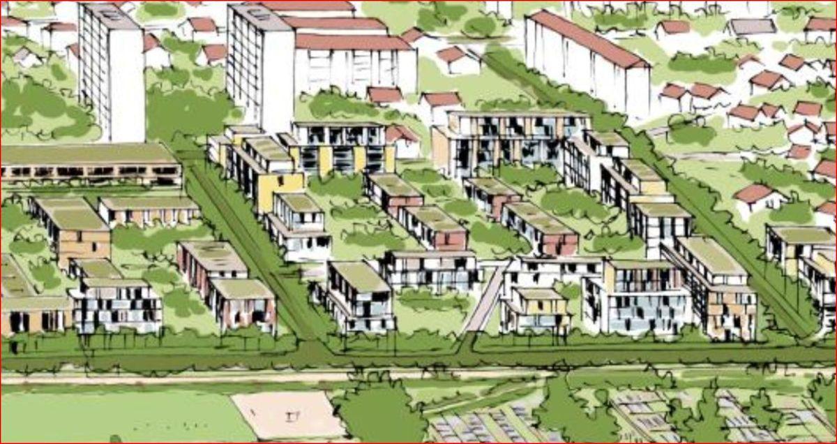 Projet Vaîtes présenté par la Mairie en mai 2005 et en septembre 2015 selon un dessin d'artiste de M Etienne MARTIN.