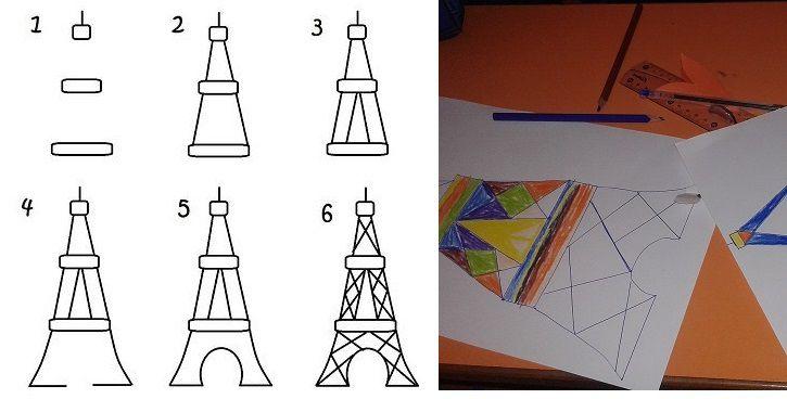 """Comme nous étudions """"Emma à Paris"""", nous avons prolongé notre lecture en apprenant à dessiner la Tour Eiffel."""