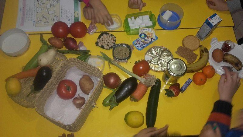 حصة للملاحظة من أجل التعرف على أنواع الأغذية المختلفة - Séance en première année pour découvrir les différentes classes d'aliments