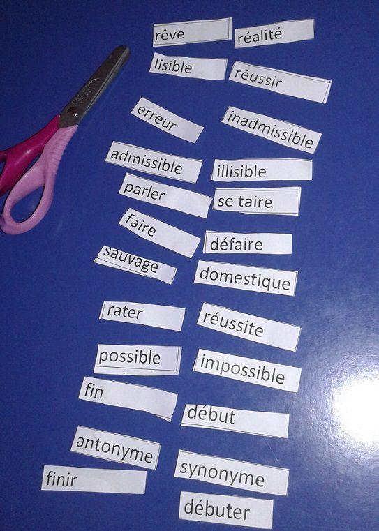 Découverte de vocabulaire : les antonymes en 4ème année