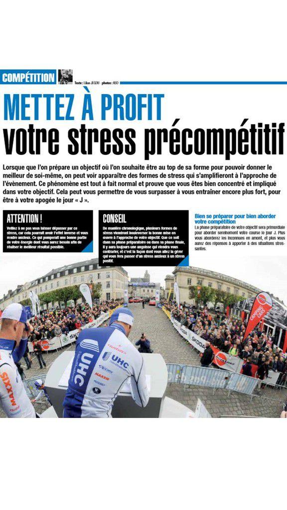 Ma Chronique du mois dans Cyclosport: METTEZ A PROFIT VOTRE STESS PRECOMPETITIF