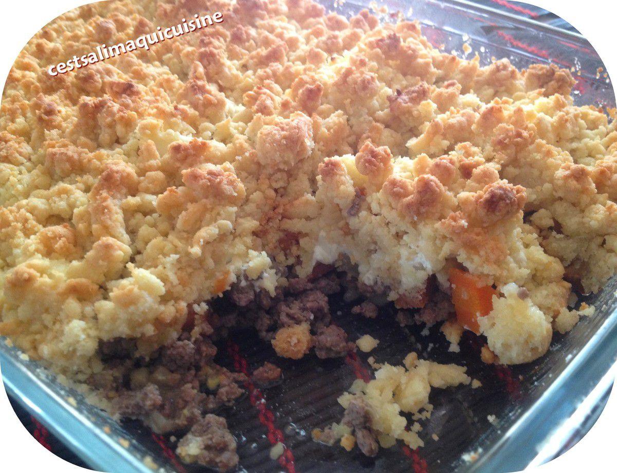 Crumble aux légumes et viande hachée