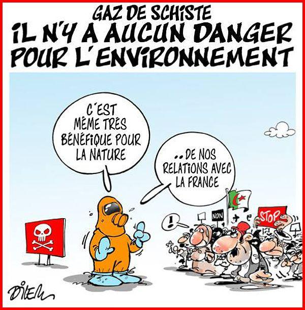 DESSIN de DILEM : manifestation anti-gaz de schiste en Algérie !