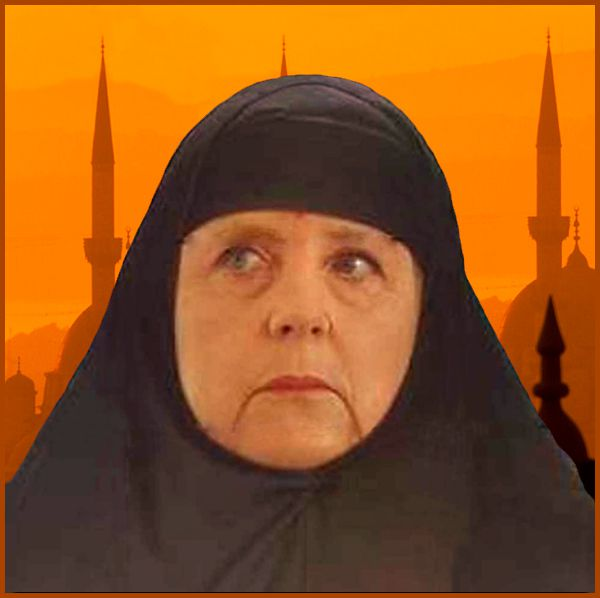 Photomontage Angela Merkel voilée