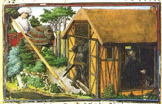 le Cœur d'amour épris, Vienne, Codex 2597 der Österreichischen Nationalbibliothek-folio 17  Désir gardant le cheval de Coeur , Franc-Vouloir tandis que le Chevalier Coeur pénétre dans la masure de Mélancolie